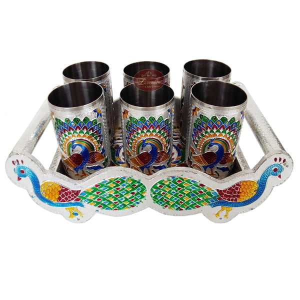 Twin Peacock Designed Wooden Meenakari Tray With Matching 6-glasses Set - S.M.
